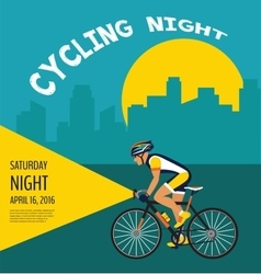 cycling night poster cyclist riding through the vector image vector image