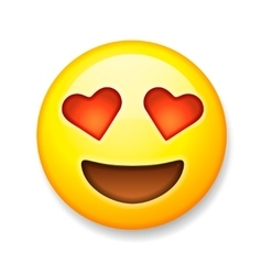 Emoji with heart-shaped eyes emoticon smiling vector image
