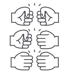 fist bump line icon sign on vector image vector image