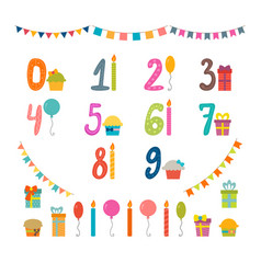 set of birthday party design elements with numbers vector image vector image