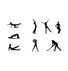 Sport fitness woman silhouettes vector image