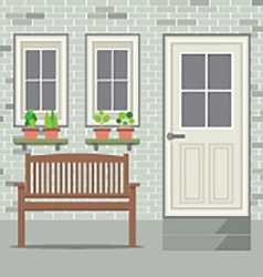 Wooden Chair With Pot Plant And Brick Background vector image