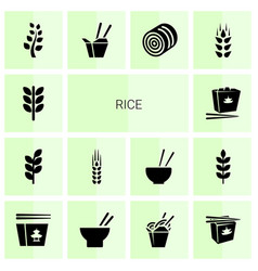 14 rice icons vector