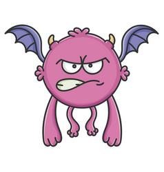 Angry purple flying cartoon bat monster vector