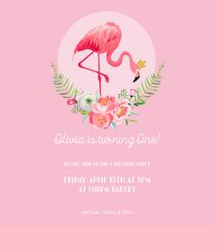 baby birthday invitation card with flamingo vector image