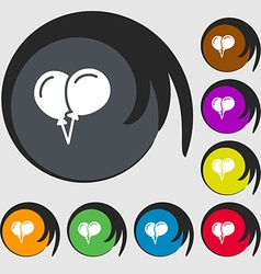 Balloon Icon sign Symbols on eight colored buttons vector