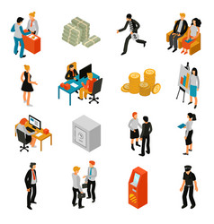 Bank people isometric icons vector