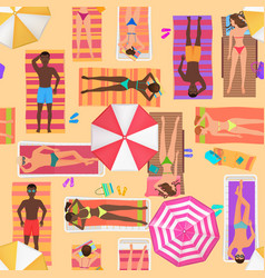 Beach seamless pattern top view summer people on vector