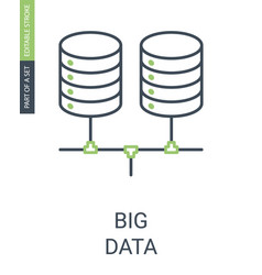 big data simple linear icon with editable stroke vector image