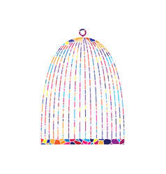 bird cage sign stained glass icon on vector image