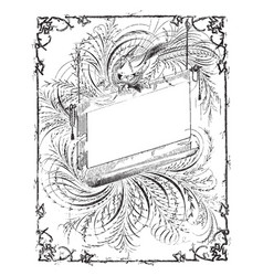Bird is top of border design vintage engraving vector
