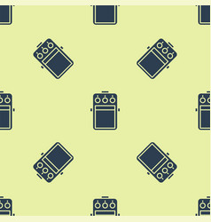 Blue guitar pedal icon isolated seamless pattern vector