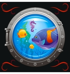 Blue porthole with colorful underwater life vector