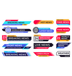 Breaking news banner broadcasting screen bars vector