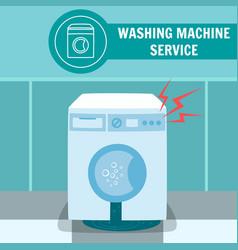 Broken electric washer machine vector