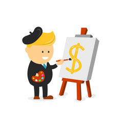 businessman artist painter draws a dollar vector image