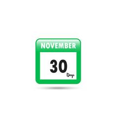 Calendar icon 30 days in november vector