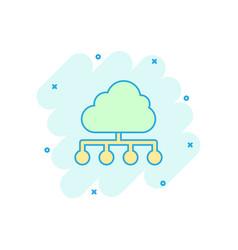 cartoon cloud computing technology icon in comic vector image