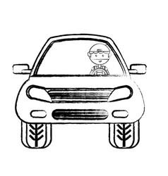 cartoon man and car icon vector image