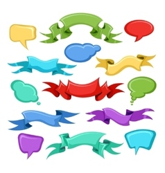 Cartoon ribbons and comic speech bubbles vector image