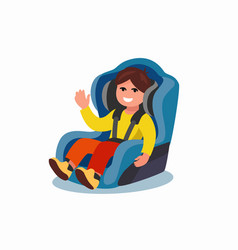 Child sitting in car seat vector
