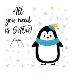 christmas card with cute little penguin funny vector image