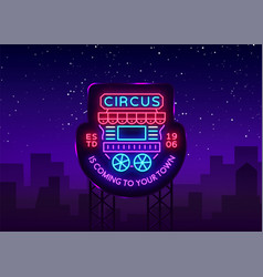 circus truck logo in neon style design template vector image