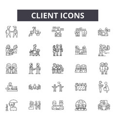 client line icons signs set linear vector image