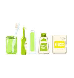 Collection of oral care and hygiene products vector