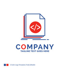 Company name logo design for code coding file vector