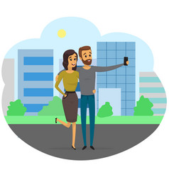 Couple with smartphone posing for joint photo vector