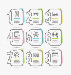 Creative idea line graph and internet icons vector