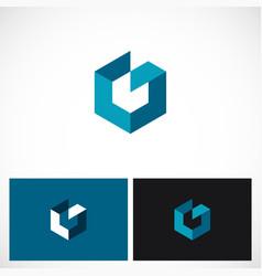 Cube 3d shape polygon logo vector