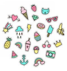 Cute funny small objects Food symbols etc vector