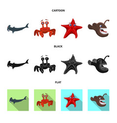 Design of sea and animal symbol collection vector