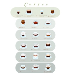Different Type of Coffee Menu or Coffee Guide vector