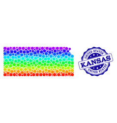 Dotted spectrum map of kansas state and grunge vector