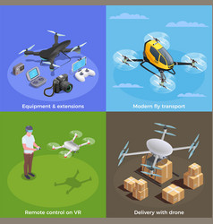 drones isometric concept vector image