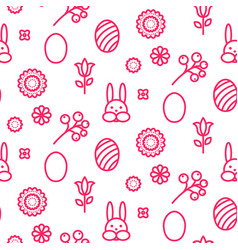 Easter outline icon seamless pattern vector