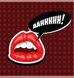 Female mouth with speech bubble red lips and vector