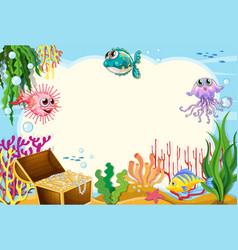 Fish underwater frame scene vector