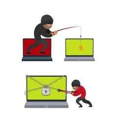 Flat hacker stealing money set vector