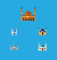 flat icon building set of mosque structure vector image