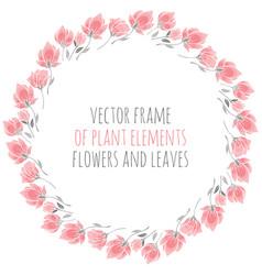 Frame wreath pink sakura blossoms vector