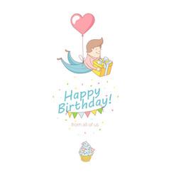 happy birthday party greeting card invitation vector image