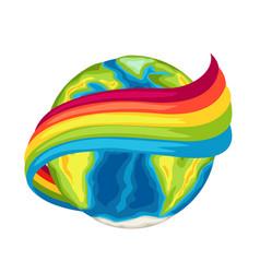 happy earth day card globe with rainbow vector image