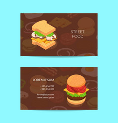 isometric burger business card template vector image