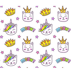 Kittens and golden crowns meow inscriptions vector