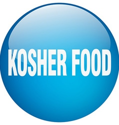 Kosher food blue round gel isolated push button vector