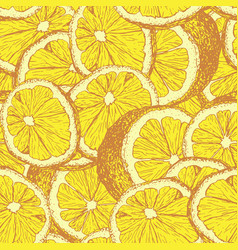 lemons hand drawn seamless pattern vector image